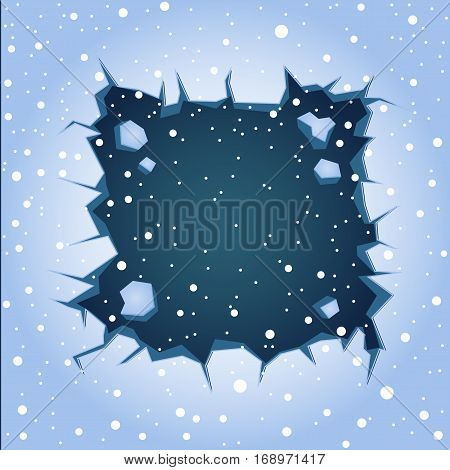 Big rectangular blue ice crack on lake or river and falling large snow. Winter theme graphic vector clipart