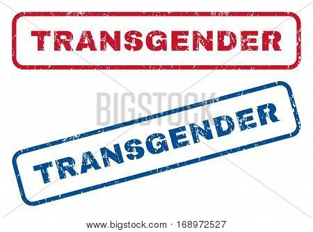 Transgender text rubber seal stamp watermarks. Vector style is blue and red ink tag inside rounded rectangular shape. Grunge design and dust texture. Blue and red signs.