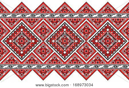 embroidered good like old handmade cross-stitch ethnic Ukraine pattern. Ukrainian towel with ornament, rushnyk called, in vector