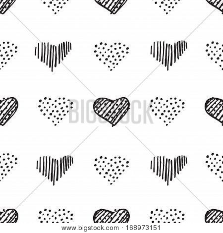 Love Seamless Pattern Romantic Doodle Hearts