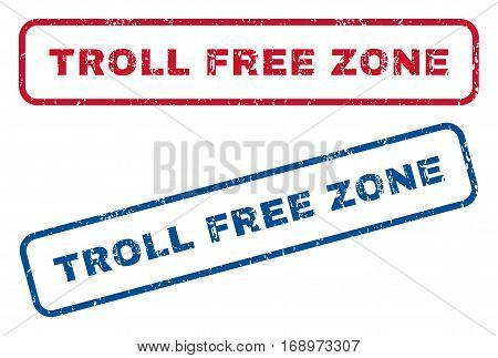 Troll Free Zone text rubber seal stamp watermarks. Vector style is blue and red ink tag inside rounded rectangular shape. Grunge design and dust texture. Blue and red stickers.