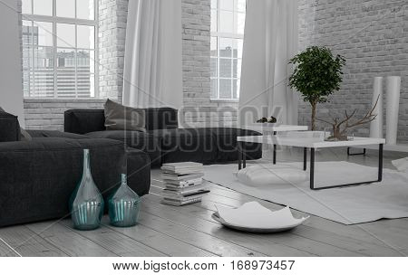 Monochromatic modern white loft interior with a grey upholstered sofa on a painted wood floor with rough finish brick walls and long view windows , ornaments and books in the foreground, 3d rendering