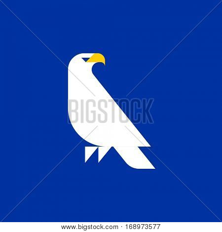 Fat style vector logo template of white eagle on blue background
