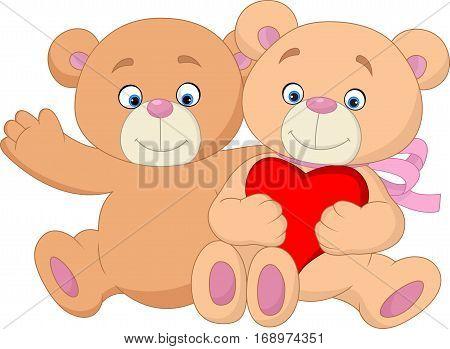 Vector illustration of Cartoon romantic couple of teddy bear