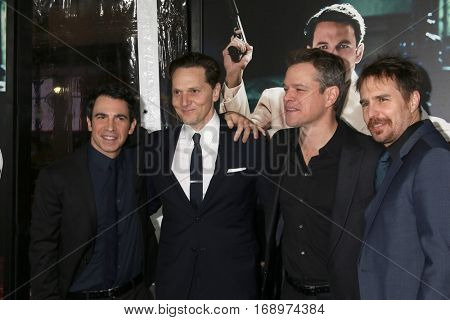 LOS ANGELES - JAN 9:  Chris Messina, Matt Ross, Matt Damon, Sam Rockwell at the