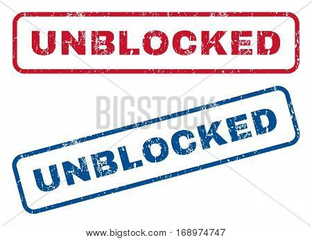 Unblocked text rubber seal stamp watermarks. Vector style is blue and red ink caption inside rounded rectangular banner. Grunge design and dust texture. Blue and red signs.