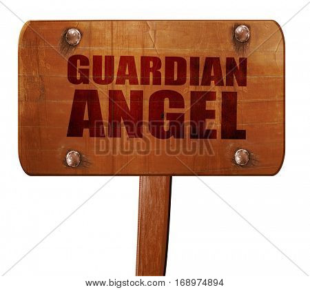 guardian angel, 3D rendering, text on wooden sign
