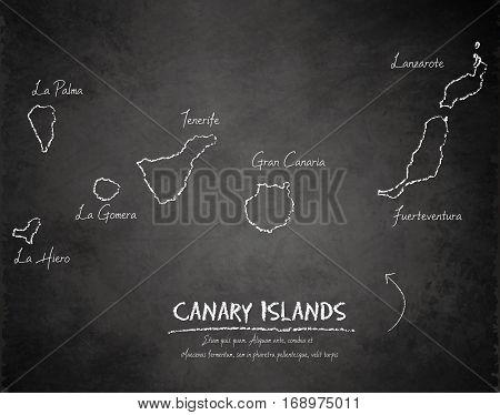 Canary Islands map blackboard chalkboard vector template vector