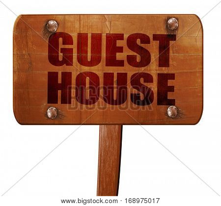 guesthouse, 3D rendering, text on wooden sign