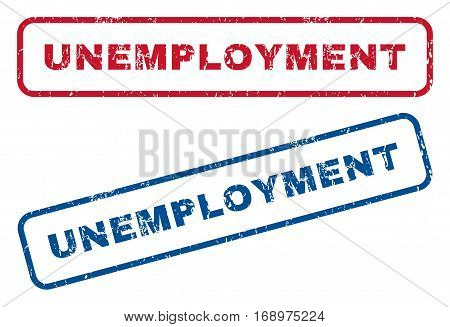Unemployment text rubber seal stamp watermarks. Vector style is blue and red ink tag inside rounded rectangular banner. Grunge design and scratched texture. Blue and red stickers.