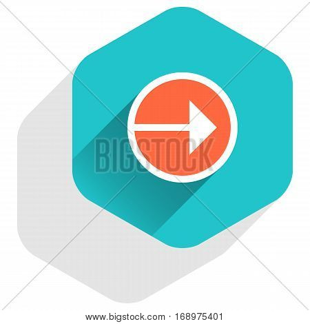 Use it in all your designs. Arrow sign on round icon in hexagon shape. Web internet button in flat long shadow style. Quick and easy recolorable vector illustration a graphic element for design