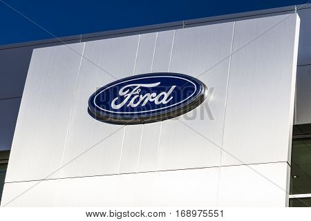 Indianapolis - Circa February 2017: A Local Ford Car and Truck Dealership. Ford sells products under the Lincoln and Motorcraft brands IV