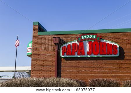 Indianapolis - Circa February 2017: Papa John's Take-Out Pizza Restaurant. Papa John's is the third largest take-out and pizza delivery chain in the world III