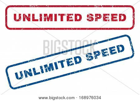 Unlimited Speed text rubber seal stamp watermarks. Vector style is blue and red ink caption inside rounded rectangular shape. Grunge design and unclean texture. Blue and red emblems.