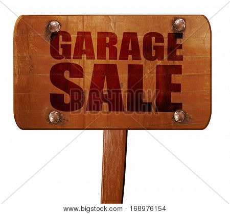 garage sale, 3D rendering, text on wooden sign