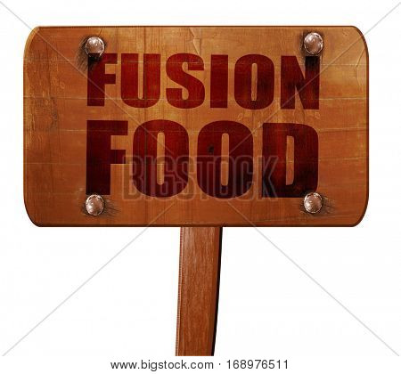 fusion food, 3D rendering, text on wooden sign