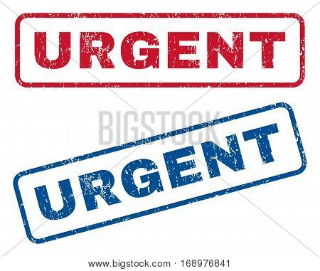 Urgent text rubber seal stamp watermarks. Vector style is blue and red ink tag inside rounded rectangular banner. Grunge design and dirty texture. Blue and red stickers.