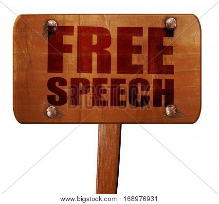 free speech, 3D rendering, text on wooden sign