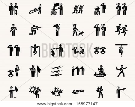 Stick figures Military pictograms. Vector Monochrome illustration pictogramms