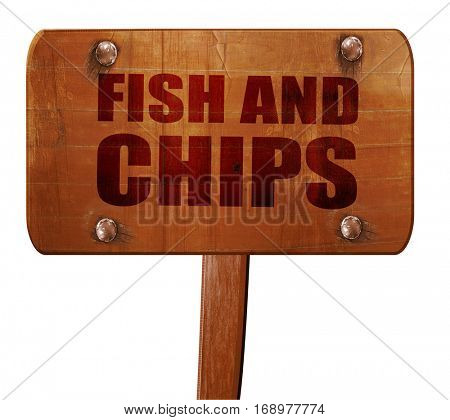 fish and chips, 3D rendering, text on wooden sign