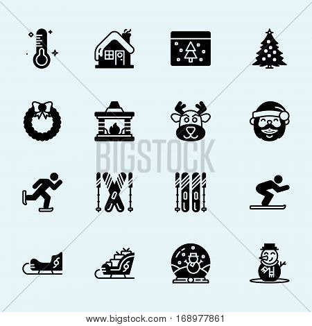 Winter. New Year's and Christmas. Vector icons. Stick figure