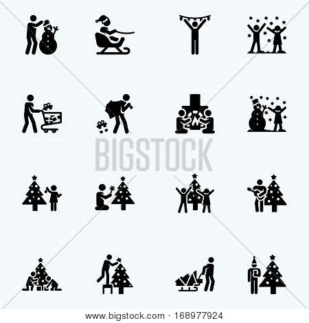 Christmas icons. Vector  black and white stick figures