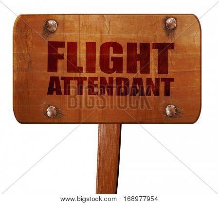 flight attendant, 3D rendering, text on wooden sign