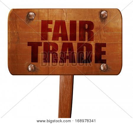 fair trade, 3D rendering, text on wooden sign