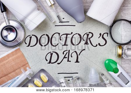 Medical instruments and remedies. Doctor's Day greeting card