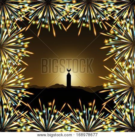Ramadan minaret arabic mosque, Fireworks colors frame vector