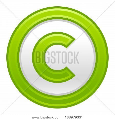 Use it in all your designs. The copyright symbol, or copyright sign, a circled capital letter C. Green rounded matte button web internet icon. Vector illustration a graphic element for design.