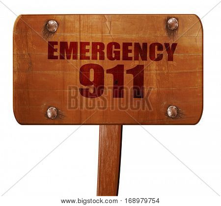 emergency 911, 3D rendering, text on wooden sign