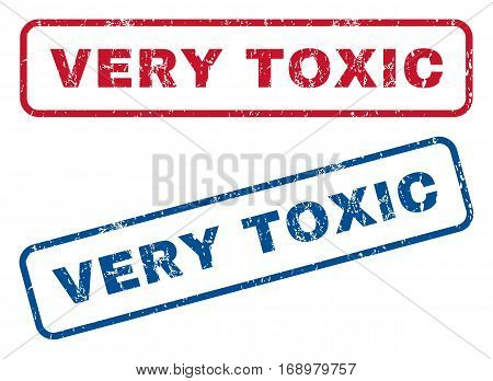Very Toxic text rubber seal stamp watermarks. Vector style is blue and red ink caption inside rounded rectangular banner. Grunge design and dust texture. Blue and red emblems.