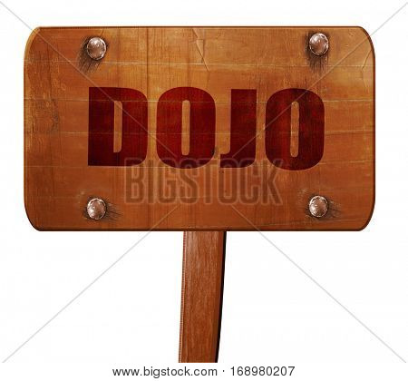 Dojo, 3D rendering, text on wooden sign