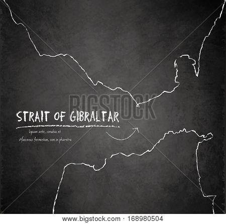 Strait of Gibraltar map blackboard chalkboard vector