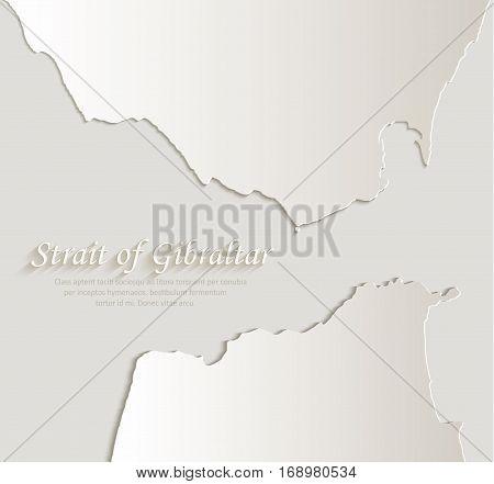 Strait of Gibraltar map card paper 3D natural vector