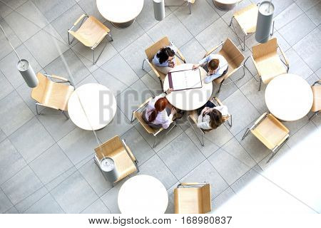 High angle view of businesswomen doing paperwork in office canteen
