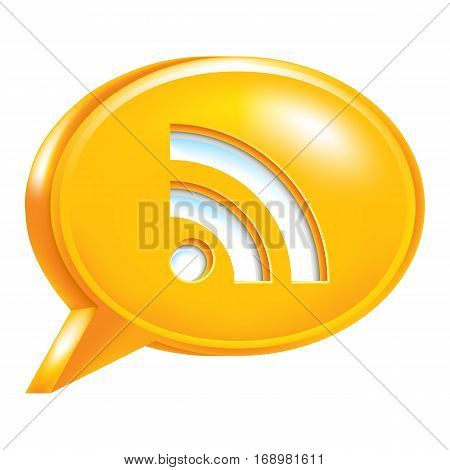 Use it in all your designs. Orange speech bubble Icon with RSS sign or Wi-Fi signal.