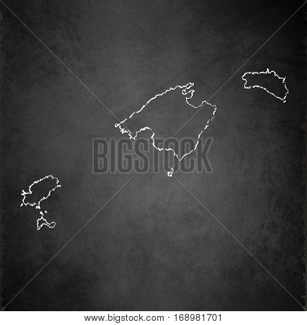 Balearic Islands, Mallorca, Menorca, Ibiza map blackboard chalkboard raster