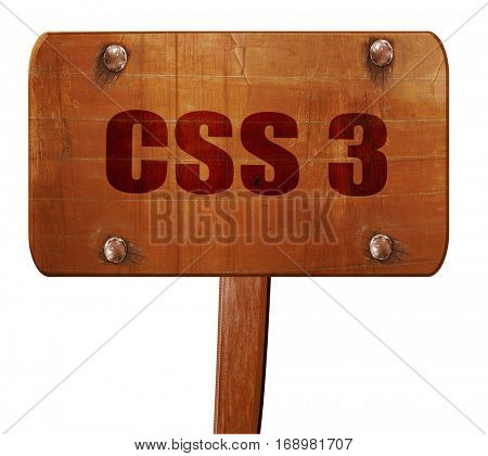 css 3, 3D rendering, text on wooden sign