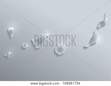 Canary Islands map glass card paper 3D raster - El Hierro,Fuerteventura,Gran Canaria,La Gomera,La Palma,Lanzarote,Tenerife, raster