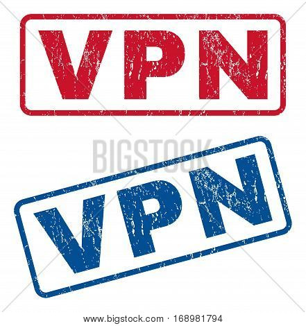 Vpn text rubber seal stamp watermarks. Vector style is blue and red ink tag inside rounded rectangular shape. Grunge design and scratched texture. Blue and red emblems.