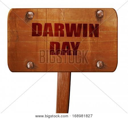 darwin day, 3D rendering, text on wooden sign