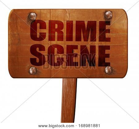 crime scene, 3D rendering, text on wooden sign