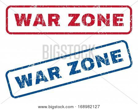 War Zone text rubber seal stamp watermarks. Vector style is blue and red ink tag inside rounded rectangular shape. Grunge design and scratched texture. Blue and red signs.