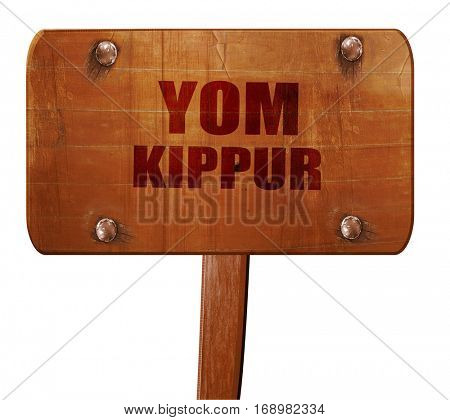 yom kippur, 3D rendering, text on wooden sign