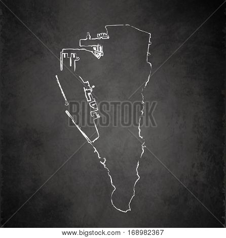 Gibraltar map blackboard chalkboard raster template dark