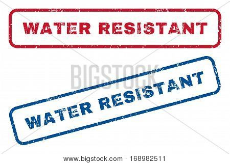 Water Resistant text rubber seal stamp watermarks. Vector style is blue and red ink tag inside rounded rectangular shape. Grunge design and unclean texture. Blue and red emblems.