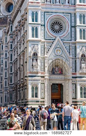 Florence Italy - September 25 2016: Tourist in the square in front of Florence Baptistery