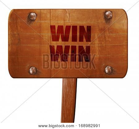 win win, 3D rendering, text on wooden sign